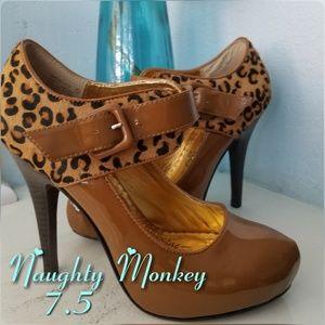 NAUGHTY MONKEY Brown Cheetah Mary Janes Heels